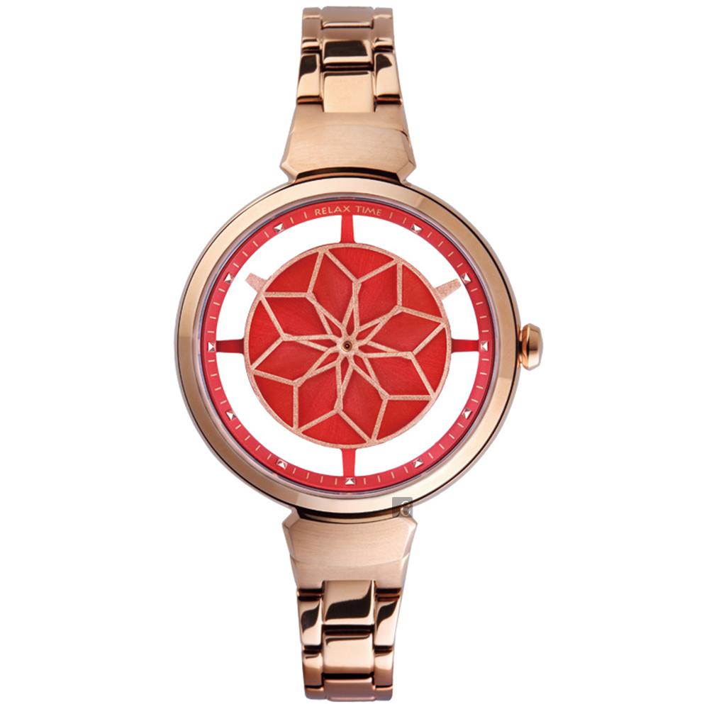 RELAX TIME RT63 綻放光彩情人限定手錶-紅x玫塊金/36mm