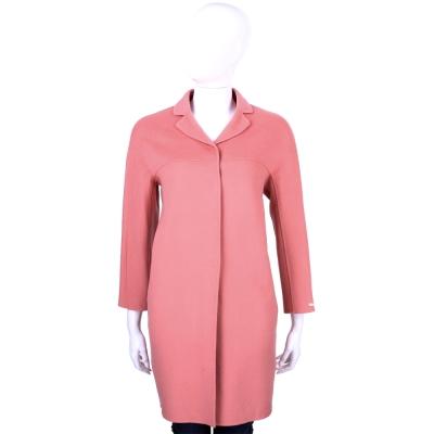 Max Mara 粉色純羊毛繭型大衣