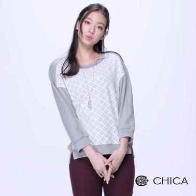 CHICA-甜心菱格織紋拼接九分袖上衣-2色