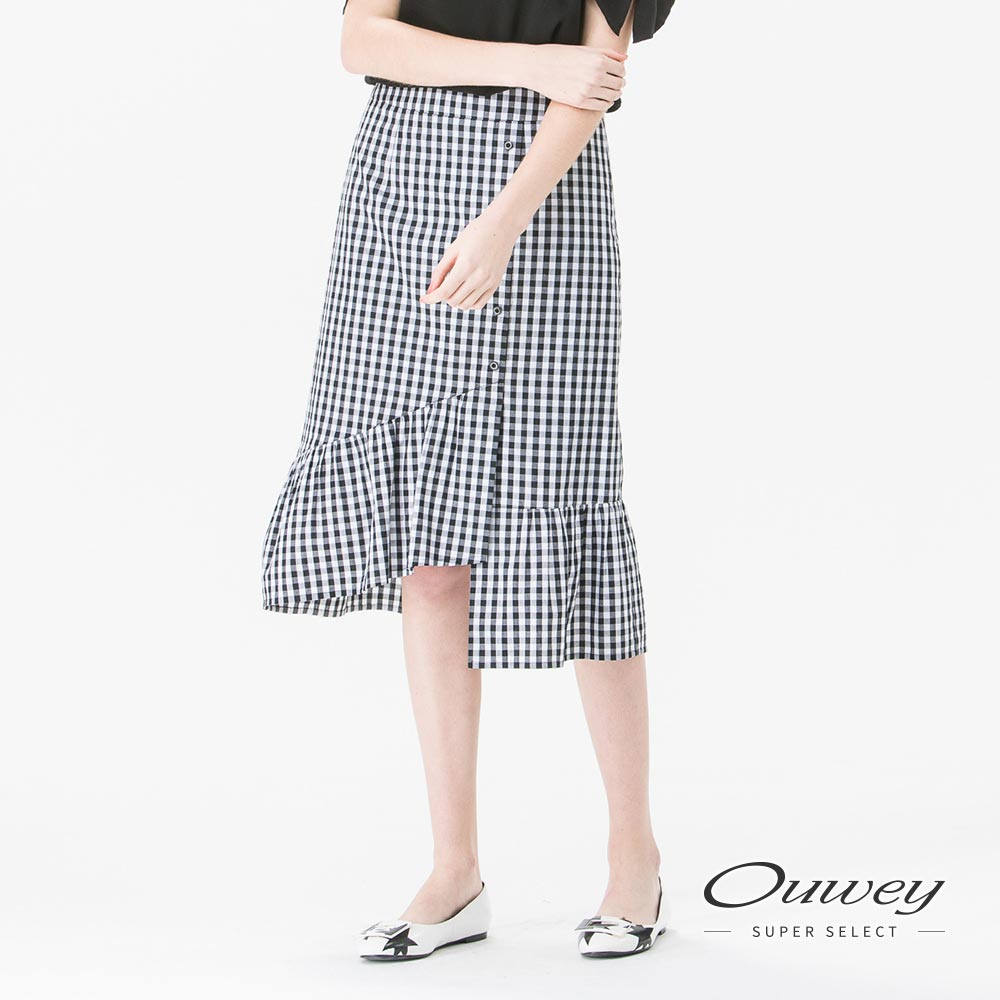 OUWEY歐薇不對稱荷葉擺中長裙黑