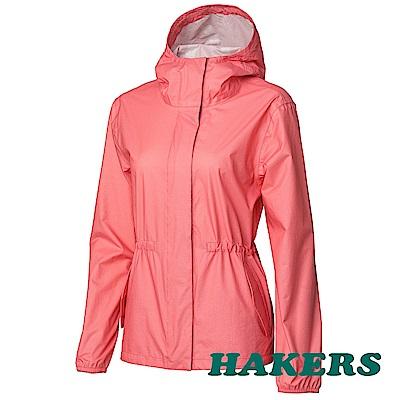 【HAKERS】女-超輕量2.5L防水外套-珊瑚紅