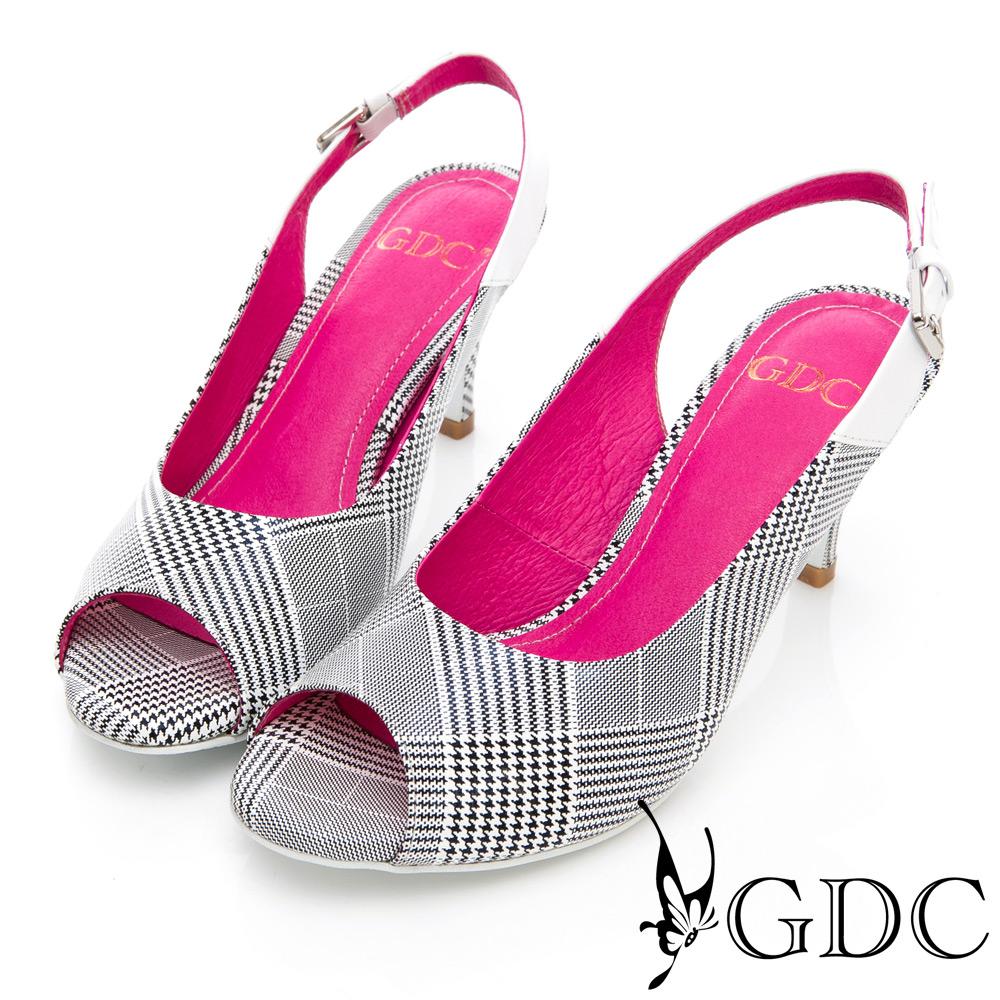 GDC-春夏真皮氣質格紋魚口鞋-白色