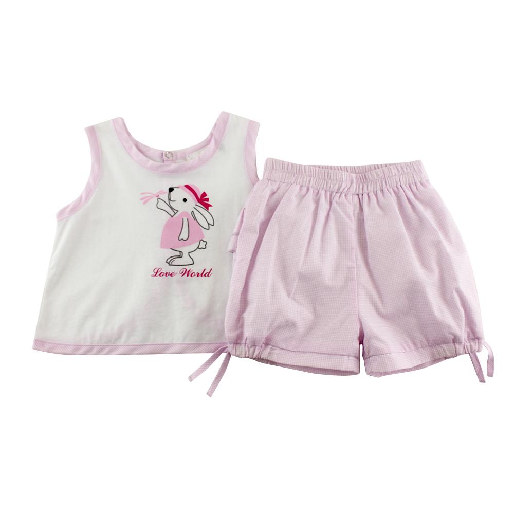 愛的世界 純棉小兔格紋背心套裝/6M~3歲