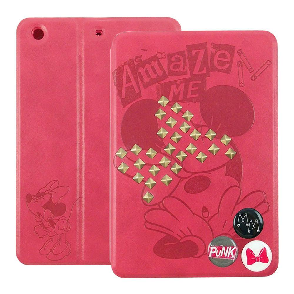 Disney iPad mini2 Retina鉚釘米妮壓紋可立式皮套