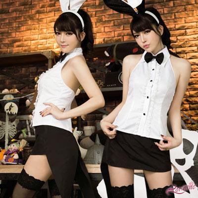 兔女郎 角色扮演 削肩襯衫兔女郎四件式(黑白F) Lorraine