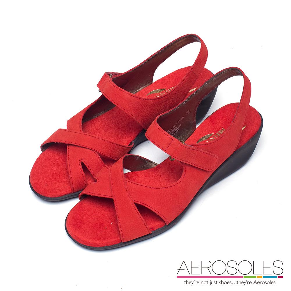 AEROSOLES 不對稱交叉繫帶小坡跟涼鞋~ 典雅紅色