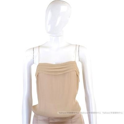 CHLOE 裸色抓褶設計細肩帶上衣