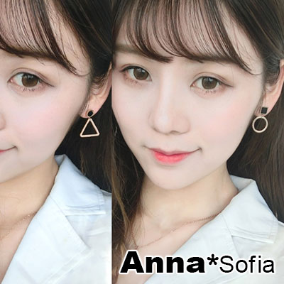 AnnaSofia 幾何圈圓三角 白鋼不對稱耳針耳環(金系)