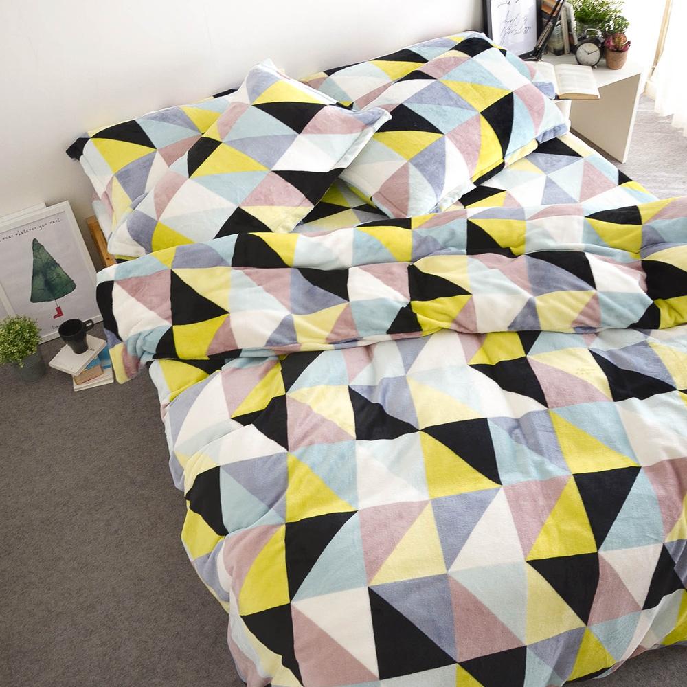 絲薇諾  奎爾公園 雙人加大四件式-極致保暖法蘭絨床包被套組