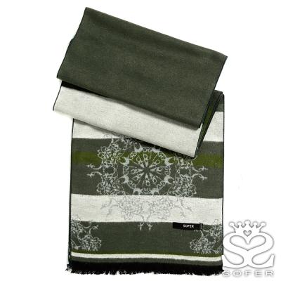 SOFER-歐風圖騰100-蠶絲圍巾-森林綠-快