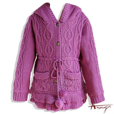 連帽毛毛球束腰毛線外套*4634紫