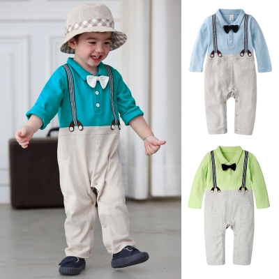 baby童衣 連身衣 紳士領結假吊帶爬服 61093