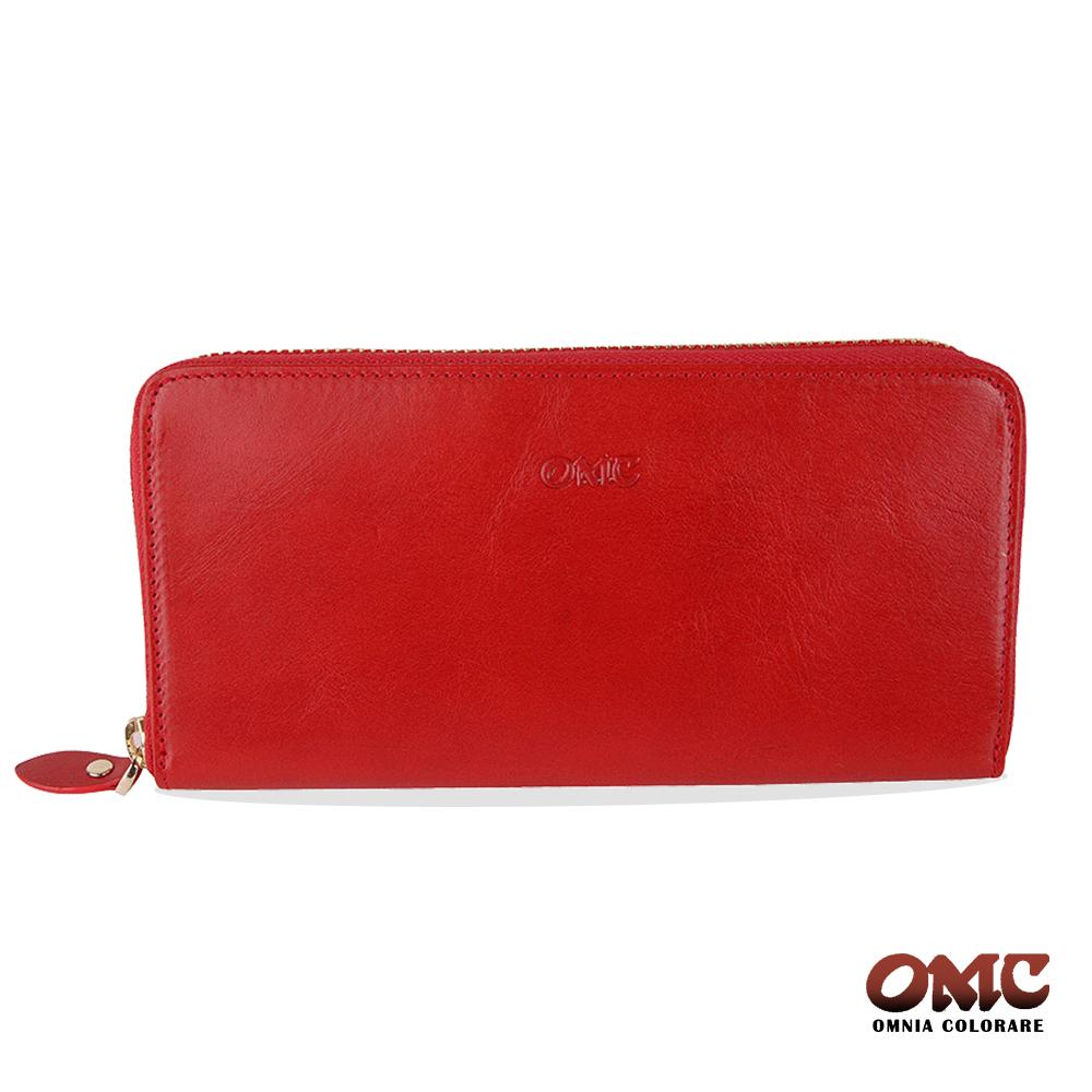 OMC 原皮系列-植鞣牛皮單拉鏈12卡透明窗雙隔層零錢長夾-紅色