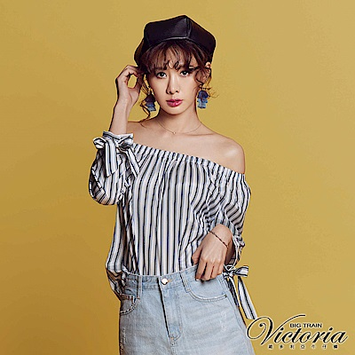Victoria 雪紡緊帶平肩拉克蘭七分袖T-女-白底藍條