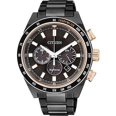 CITIZEN Eco-Drive 三環計時腕錶(CA4207-53H)-黑/42mm