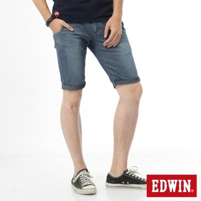 EDWIN 大尺碼迦績褲 涼爽PK牛仔短褲-男-石洗藍
