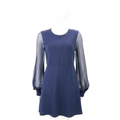 Max Mara-SPORTMAX 深藍色雪紡袖拼接設計洋裝