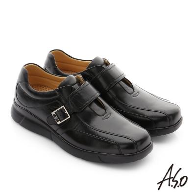 A.S.O 厚切氣墊 綿羊皮奈米魔鬼氈紳士休閒鞋 黑色