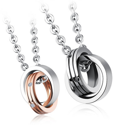ACUBY-鋼製圈圈愛情侶對組項鍊