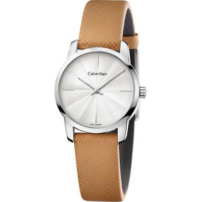 Calvin Klein CK 都會系列女用腕錶-白x駝色/31mm