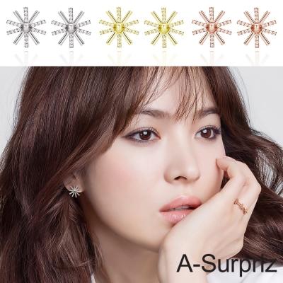 A-Surpriz 太陽的後裔100%925銀鑲鑽太陽花耳環(3色選)