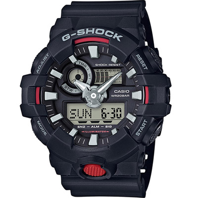 G-SHOCK 絕對強悍雙顯運動錶(GA-700-1A)-黑/53.4mm