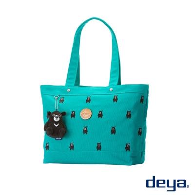 deya黑熊純棉帆布托特包後背包- 綠色