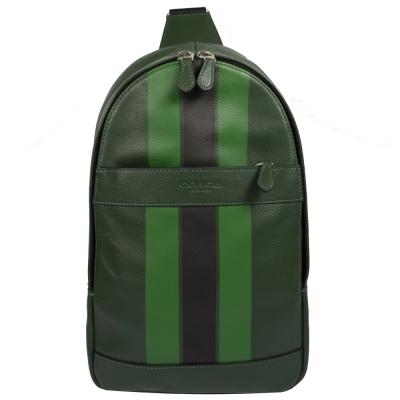 COACH 經典LOGO烙印皮革條紋單背後背包.綠
