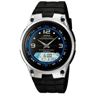 CASIO 多功能狩獵雙顯膠帶錶(AW-82-1A)-黑/40mm