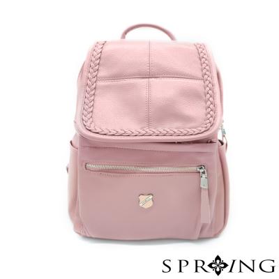 SPRING-無法直視的魅力麻花真皮後背包-優雅粉紫