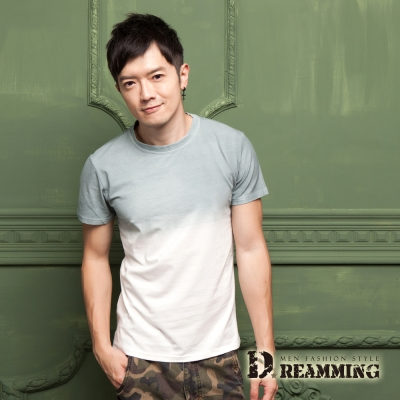 Dreamming 時尚韓系漸層超彈舒適圓領短T-共三色