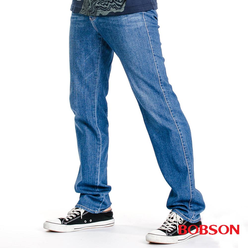 BOBSON 男款中高腰彈性直筒褲