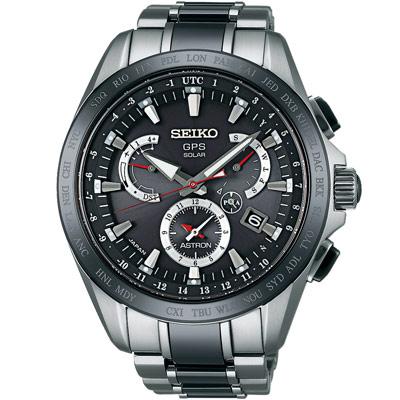 SEIKO ASTRON GPS 衛星校時鈦太陽能鈦腕錶(SSE041J1)-黑/45mm