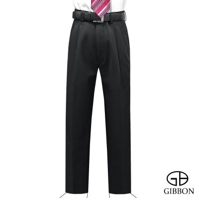 GIBBON-保暖刷毛素面打摺西裝褲-黑色31-42