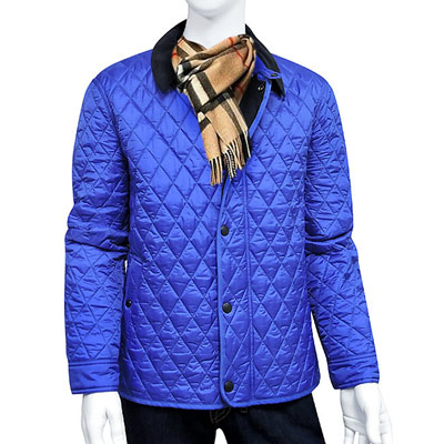 BURBERRY 藍色菱格紋紳士外套-XL號