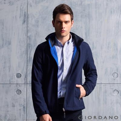 GIORDANO 男裝防風保暖搖絨連帽修身夾克外套 - 66 標誌海軍藍