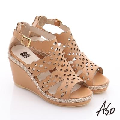 A.S.O 完美涼夏 全真皮波希米亞風彈力楔型涼鞋 卡其