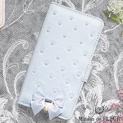 Maison de FLEUR 甜美珍珠蝴蝶結配飾手機殼
