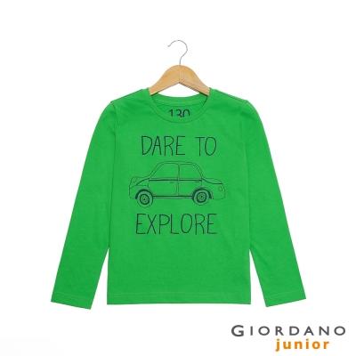 GIORDANO 童裝 趣味印花純棉長袖T恤- 13 經典綠
