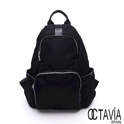 OCTAVIA 8玩世界尼龍多口袋功能極簡後背包-出走黑