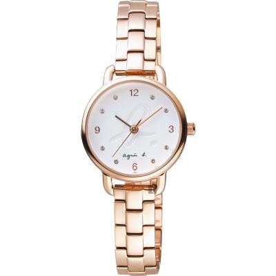 agnes b. 巴黎城市限定女錶(BH8037X1)-白x玫塊金/27mm