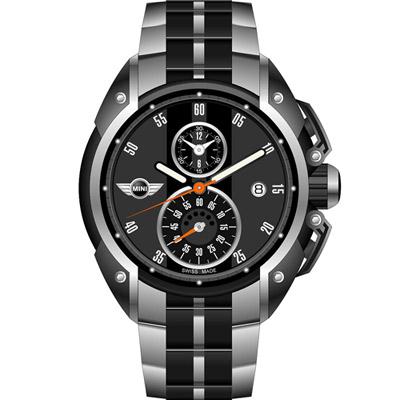 MINI Swiss Watches 跑旅時尚計時腕錶-黑鋼帶款/45mm