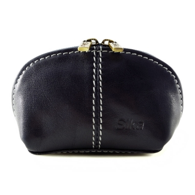 Sika - 義大利時尚真皮復古小巧拉鍊零錢包A8259-06 - 清玉藍