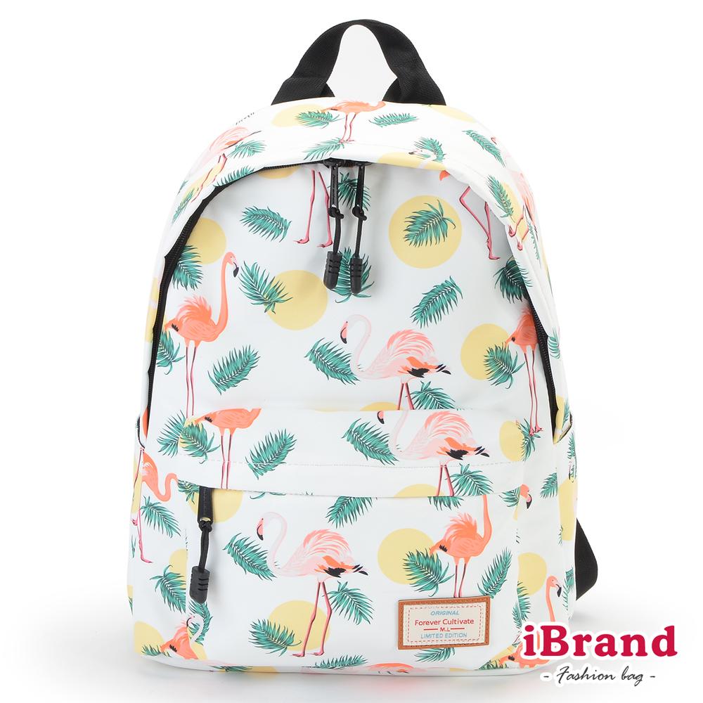 iBrand 學院風印花潮流防潑水口袋後背包-紅鶴