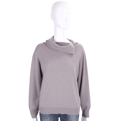 FABIANA FILIPPI 藕灰色領口反摺長袖上衣(100%WOOL)