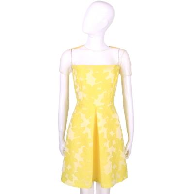 BLUGIRL 黃色網紗拼接繡花短袖洋裝