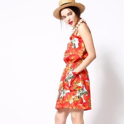 ICHE 衣哲 荷葉細摺番茄印花造型洋裝