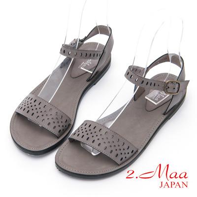 2.Maa - 時尚沖孔羅馬休閒釦環涼鞋 - 灰
