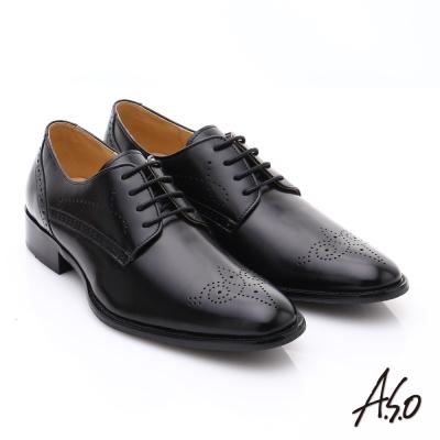 A.S.O職人通勤 雙色復古真皮沖孔雕花綁帶皮鞋 黑色