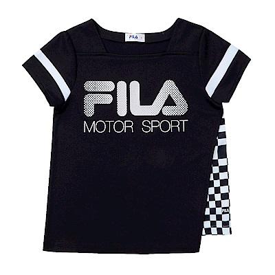 FILA KIDS 女童吸濕排汗上衣-黑 5TES-4443-BK